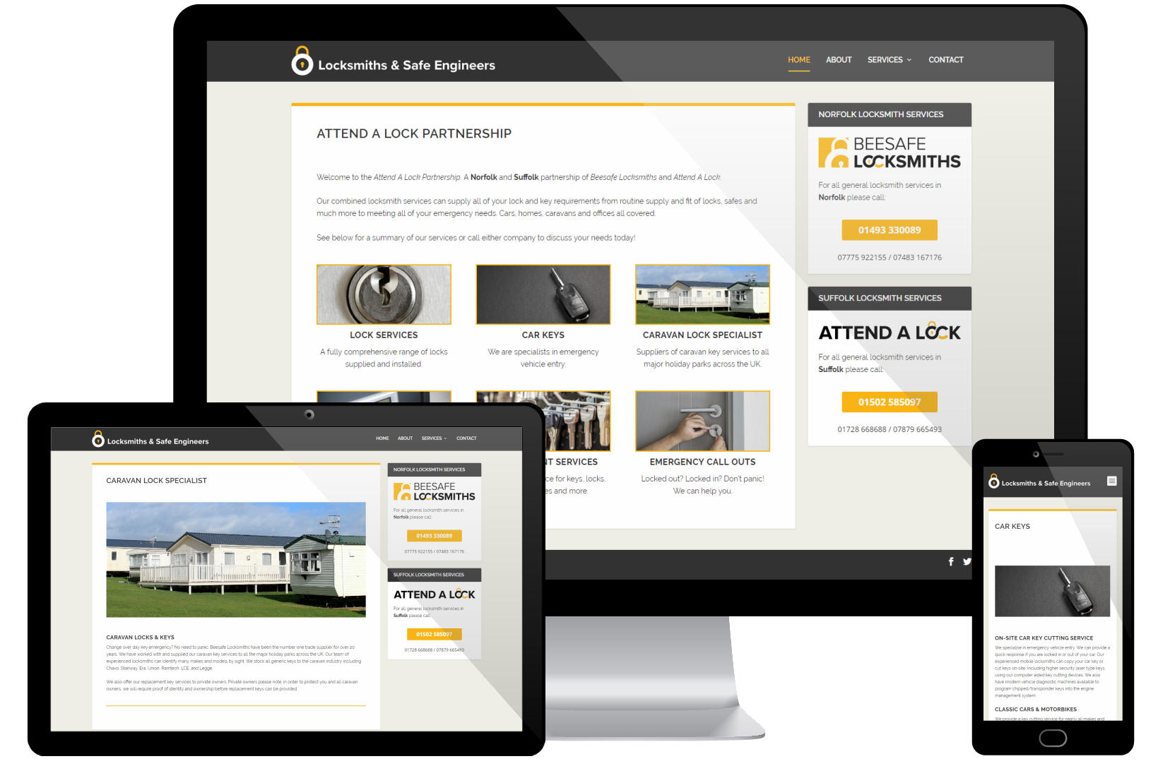 Web Design Portfolio - Attend A Lock Partnership Screenshots