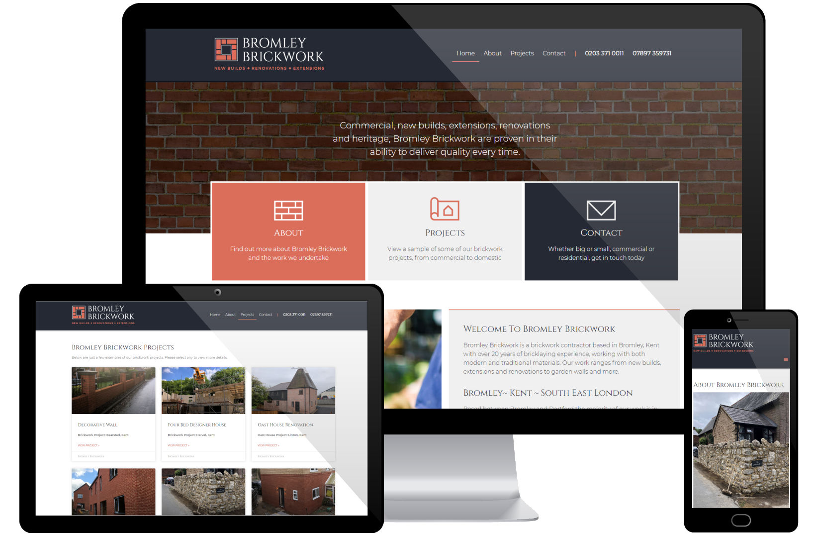 Web Design Portfolio - Bromley Brickwork - Screenshots