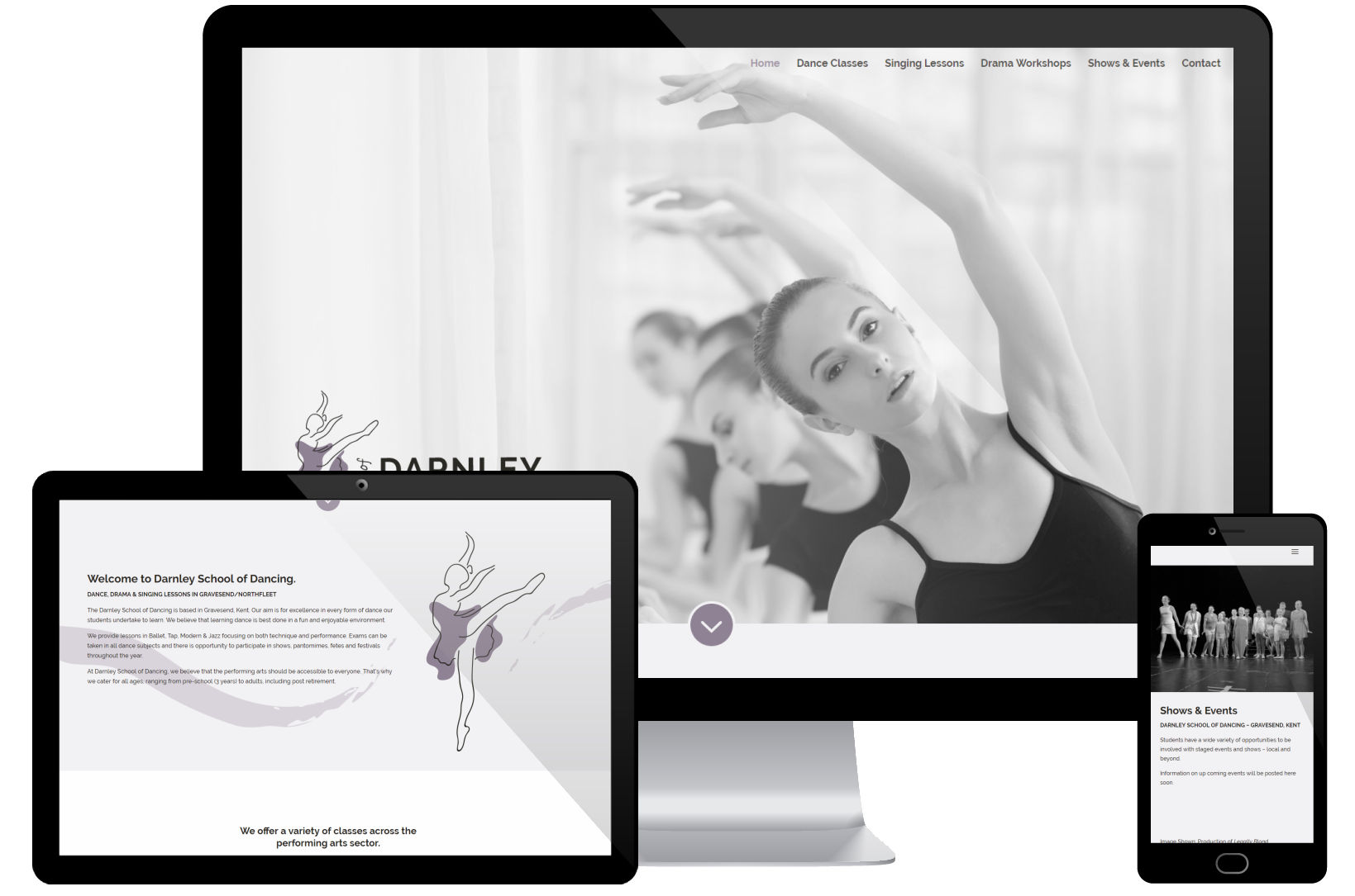 Web Design Portfolio - Darnley School of Dancng Screenshots
