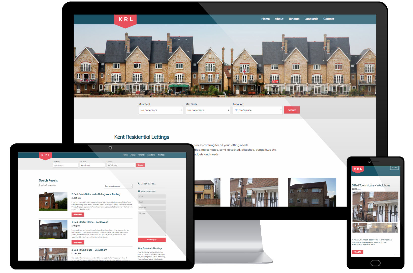 Web Design Portfolio - Kent Residential Lettings Screenshots
