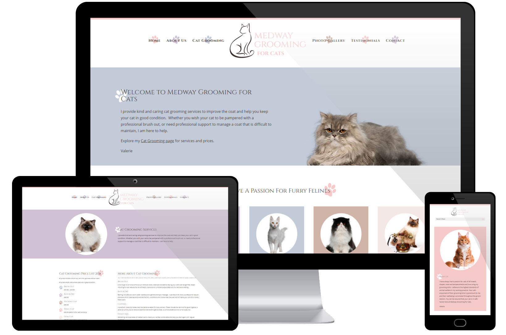 Web Design Portfolio - Medway Grooming Screenshots