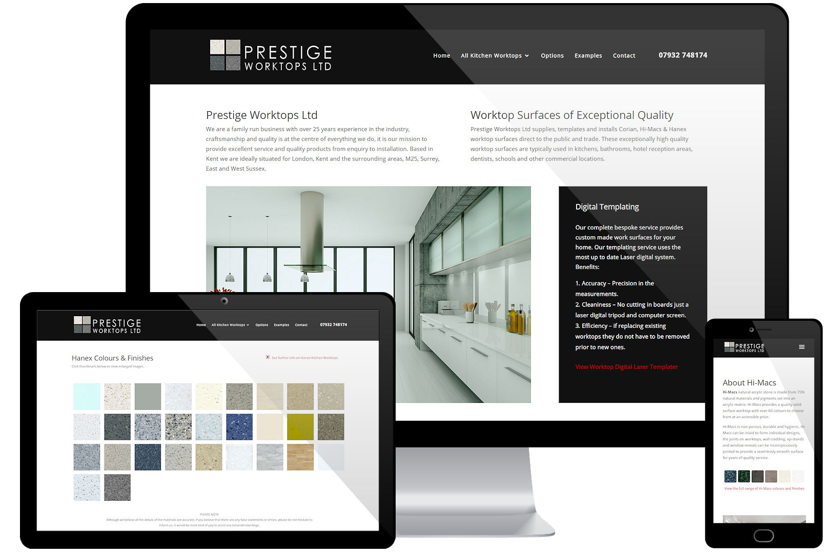 Web Design Portfolio - Prestige Worktops Screenshots