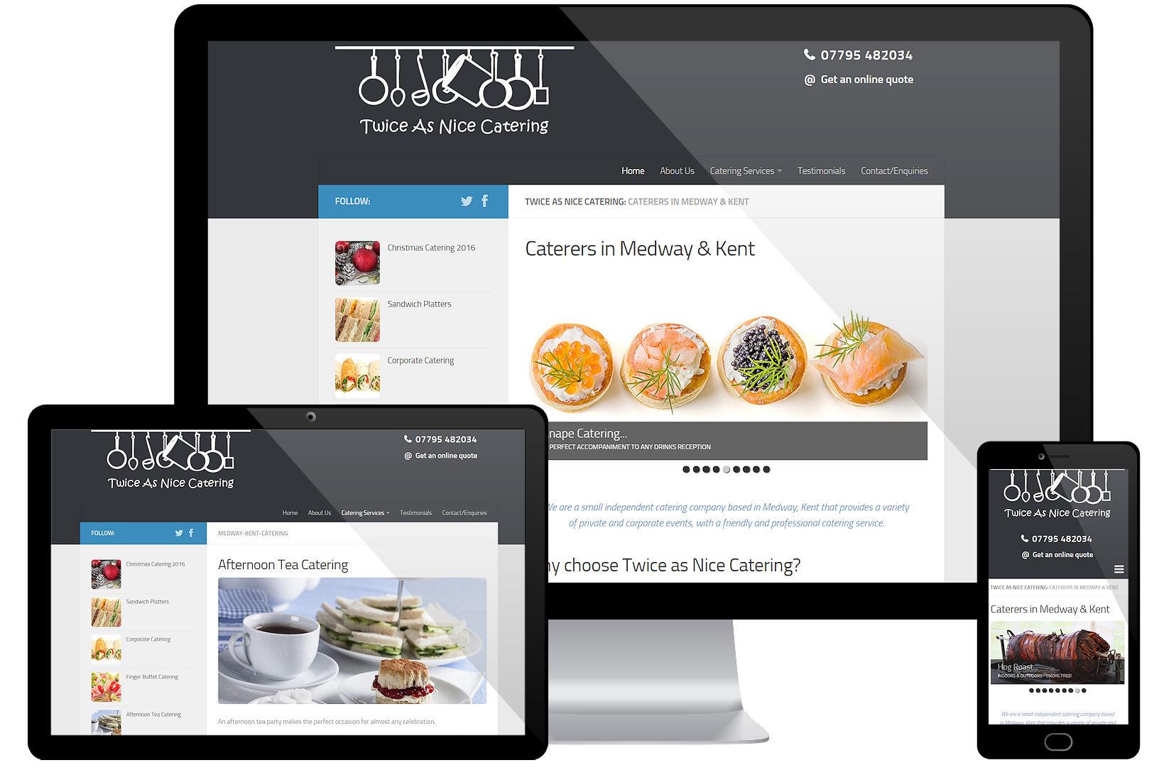 Web Design Portfolio - Twice As Nice Catering Screenshots